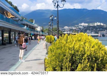June, 2021. The Resort City Of Yalta, The Black Sea Coast. City Embankment Above The Seaside Beach.