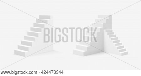 Set Of 3d Realistic Style White Stairs. Vector Illustration.
