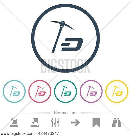 Dash Cryptocurrency Mining With Treasure Flat Color Icons In Round Outlines. 6 Bonus Icons Included.