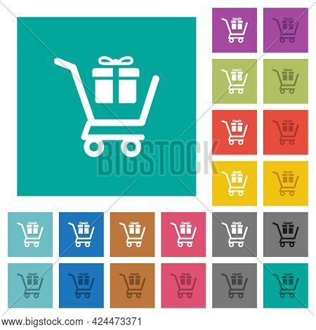 Gift Shopping Multi Colored Flat Icons On Plain Square Backgrounds. Included White And Darker Icon V