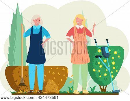 Seasonal Gardening With Characters Of Gardeners Working In Outdoor Garden, Female Characters Growing
