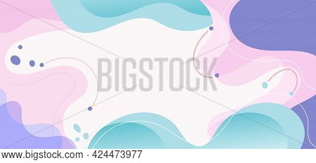 Modern Background With Fluid Shape Pink, Purple, Green Pastel Color And Hand Draw Line On White Back