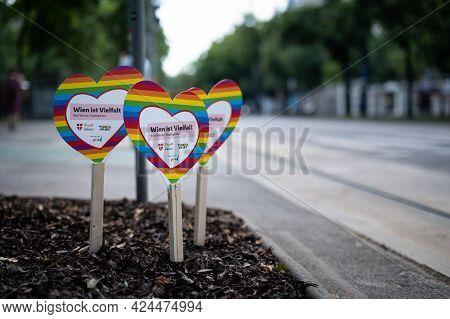 Vienna, Austria - June 19, 2021: Street Signs At Vienna Pride On Wiener Ringstrasse