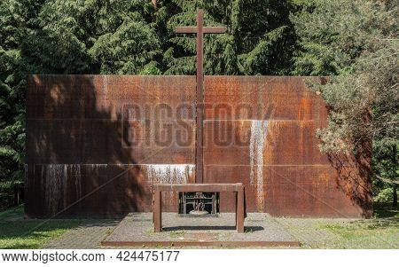 Russia, Katyn, June 2021 - The Altar Wall With The Names Of The Executed Polish Prisoners Of War In