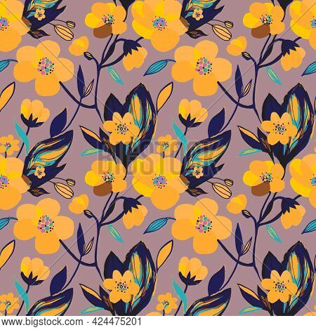 Hand Drawn Yellow Blooming Exotic Flowers Seamless Pattern. Botanical Floral And Leaves Background.