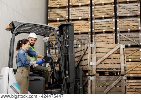 Management Of Loading Products, Modern Device And Checking Driver Work In Warehouse