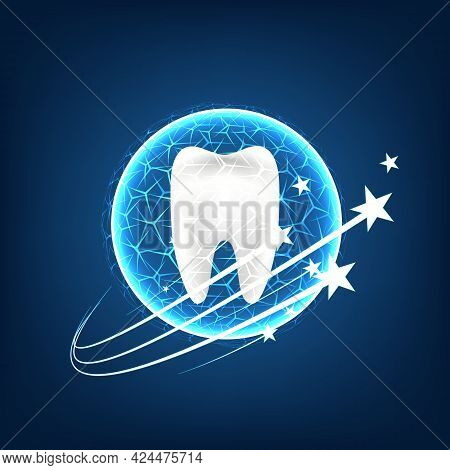 Healthy Tooth With Glowing Effect On Blue Background, Teeth Whitening Concept.
