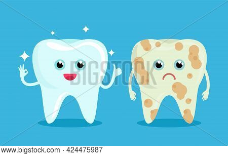 Healthy Shiny Bleached Tooth And Bad Tooth With Caries. Human Emotions Of Joy And Pain On The Face.