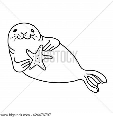 Happy Cheerful Fur Seal Lies On Its Side, Holds A Starfish In Its Paws And Smiles At You. Vector Doo