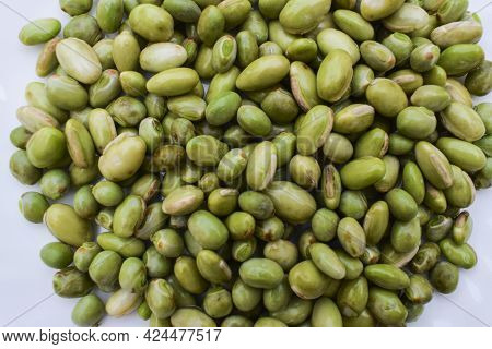 Closeup Of Hyacinth Beans Known As Indian Papdi Or Valor Beans Used In Making Mix Veg Gujarati Cuisn