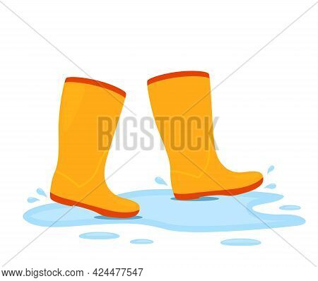 Yellow Rubber Boots Are Walking In A Puddle With Splashing Water. Vector Illustration Isolated On Wh