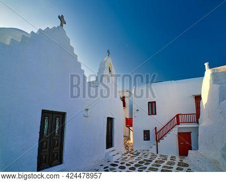 Famous Tourist Landmark, Mykonos Island, Greece. Entrance To White Greek Orthodox Church Of Panagia
