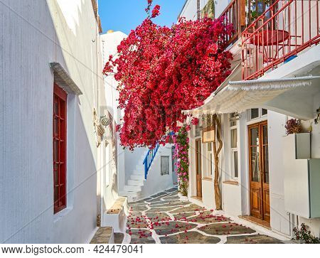 Romantic Traditional Alleyways Of Greek Island Towns. Whitewashed Walls, Colorful Doors, Pink Bougai