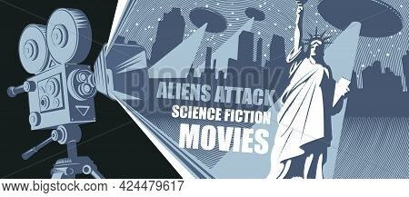 Cinema Poster, Banner, Flyer, Ticket To Science Fiction Movies. Vector Illustration With An Old-fash