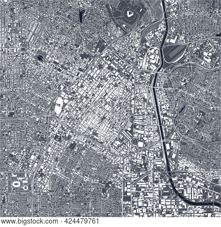 Map Of The City Of Downtown Los-angeles, Usa