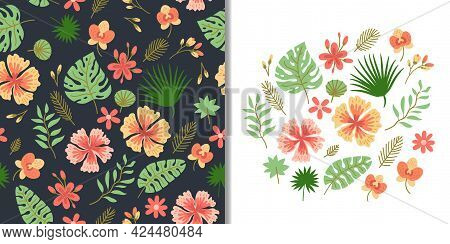 Floral Set With Seamless Pattern And Cute Tropic Flower Elements, Vector Design. Tropical Vector Bac