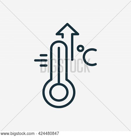 High Temperature Scale Line Icon. Flu, Cold, Virus And Fever Symptoms. Thermometer With Arrow Up Pic