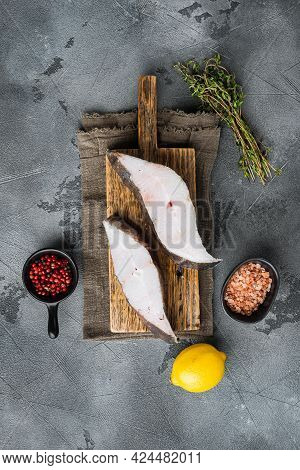 Sliced Halibut Fish Set, With Ingredients And Rosemary Herbs, On Gray Stone Table Background, Top Vi