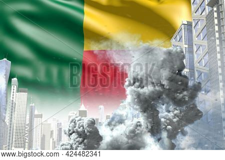 Huge Smoke Pillar In Abstract City - Concept Of Industrial Accident Or Terroristic Act On Benin Flag
