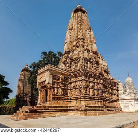 Bhagwan Parshwanath Digamber Jain Mandir 10th-century Jain temple - one of famous tourist attractions of Khajuraho with sculptures. India, Khajuraho, Madhya Pradesh, India