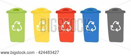 Recycle Bins With Recycle Symbol. Containers For Recycling Waste Sorting - Plastic, Glass, Metal, Pa