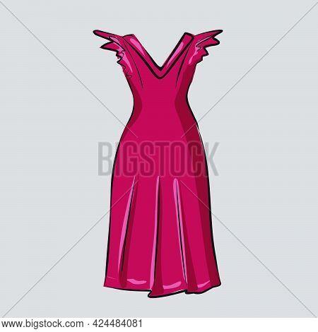 Basic Wardrobe. Elegant Red Dress. Garment, Closet, Clothing. Clothing Store. Summer Outfit. Isolate
