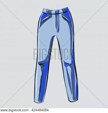 Light Blue Skinny Jeans. Part Of A Basic Wardrobe Set. Clothing Store, Fashion. Isolated Vector Obje