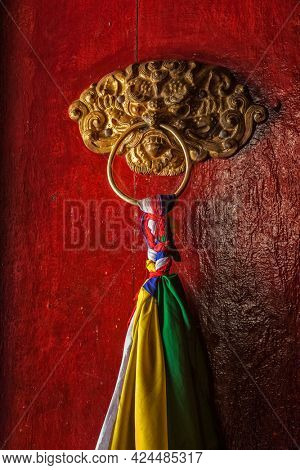 Derocated door handle of Likir gompa Tibetan Buddhist monastery. Ladadkh, India