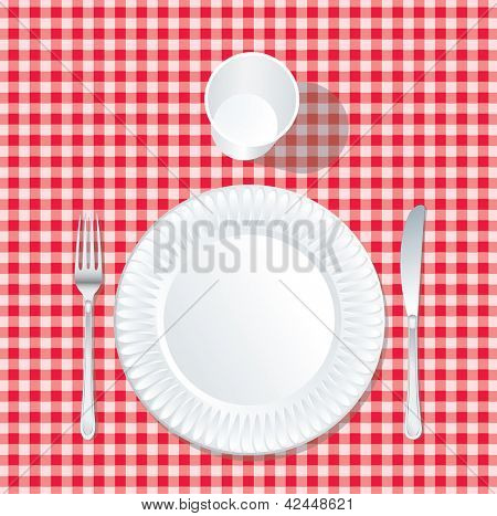 vector paper plate  with plastic glass on red tablecloth