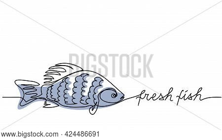 Fresh Fish Simple Vector Background, Banner, Poster. Signboard , Store Or Shop Sign Design. One Cont