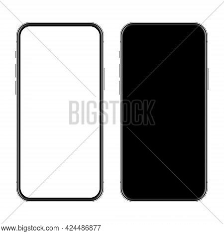Realistic Smartphone With Blank Touch Screen Isolated On White Background. Frameless Mobile Phone In