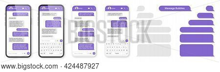 Realistic Smartphone With Messaging App. Blank Sms Text Frame. Conversation Chat Screen With Violet