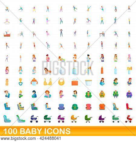 100 Baby Icons Set. Cartoon Illustration Of 100 Baby Icons Vector Set Isolated On White Background