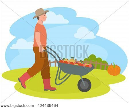 Peasant With Wheelbarrow, Vegetables And Fruits. Cartoon And Vector Illustration, Isolated Objects.