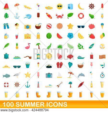 100 Summer Icons Set. Cartoon Illustration Of 100 Summer Icons Vector Set Isolated On White Backgrou