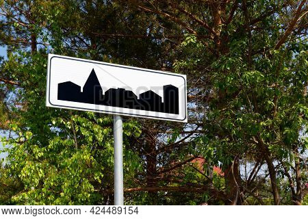 Road Sign Beginning Of A Settlement. Built-up Area Border In Russia