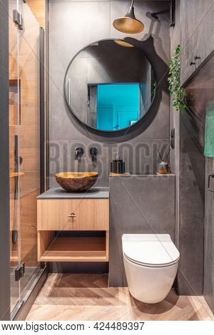 Modern small bathroom interior design. Dark style