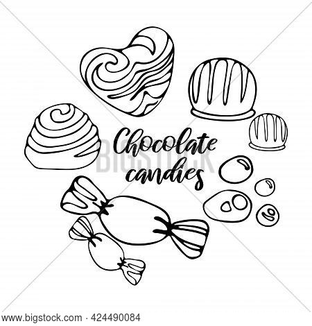 Set Delicious Pieces Of Milk Chocolate Candies. Celebrate World Chocolate Day. Vector Doodle Illustr