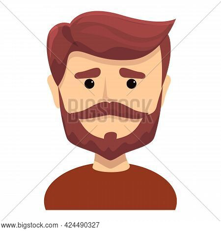 Bearded Hipster Icon. Cartoon Of Bearded Hipster Vector Icon For Web Design Isolated On White Backgr
