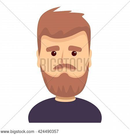 Bearded Funny Guy Icon. Cartoon Of Bearded Funny Guy Vector Icon For Web Design Isolated On White Ba