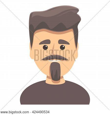 Dark Haired Man With Beard Icon. Cartoon Of Dark Haired Man With Beard Vector Icon For Web Design Is