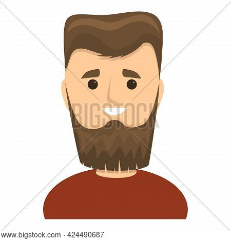 Funny Guy With Beard Icon. Cartoon Of Funny Guy With Beard Vector Icon For Web Design Isolated On Wh
