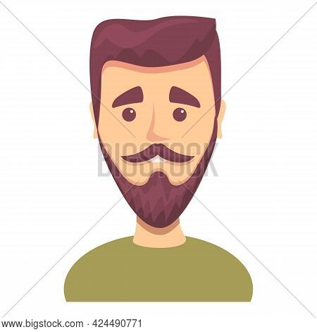 Young Man With Beard Icon. Cartoon Of Young Man With Beard Vector Icon For Web Design Isolated On Wh