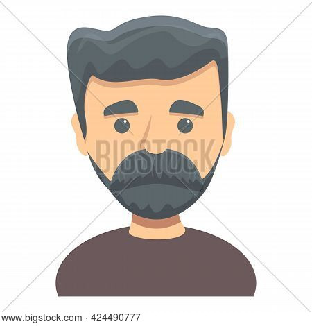 Cute Bearded Man Icon. Cartoon Of Cute Bearded Man Vector Icon For Web Design Isolated On White Back