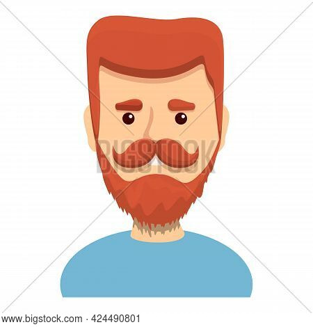 Bright Red Bearded Guy Icon. Cartoon Of Bright Red Bearded Guy Vector Icon For Web Design Isolated O