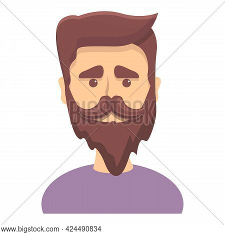 Bearded Guy With Trendy Hairstyle Icon. Cartoon Of Bearded Guy With Trendy Hairstyle Vector Icon For