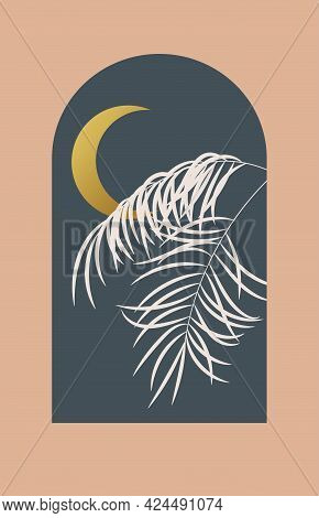 Abstract Contemporary Aesthetic Background With Sea Landscape, Palm Leaf, Moon. Tropical Floral Desi
