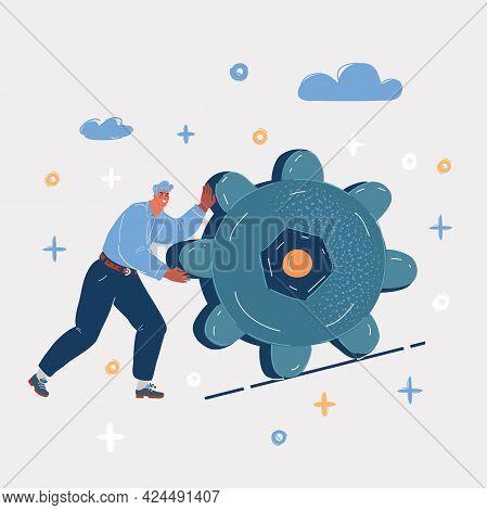 Vector Illustration Of Man Pulling Gear Up
