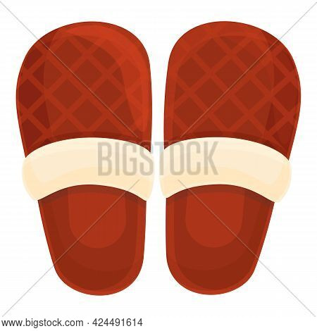 Warm Slippers Icon. Cartoon Of Warm Slippers Vector Icon For Web Design Isolated On White Background
