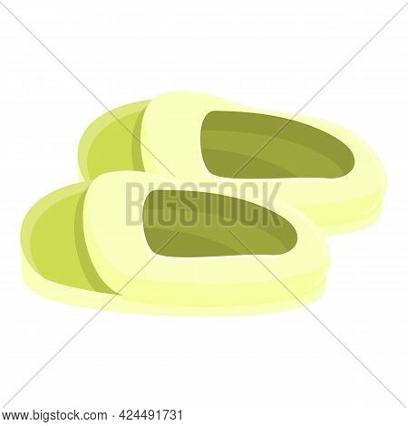 Green Slippers Icon. Cartoon Of Green Slippers Vector Icon For Web Design Isolated On White Backgrou